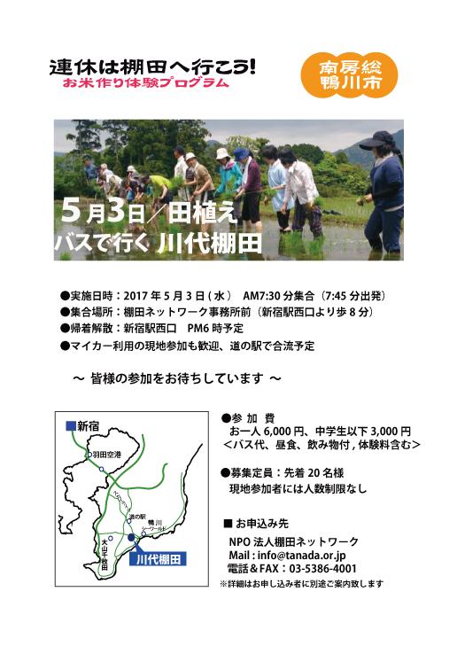 【イベント】5月3日(祝)鴨川市・川代棚田で田植えです。参加してみませんか?