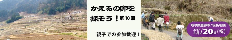 恵那市・坂折棚田で第10回「かえるの卵を探そう」が開かれます